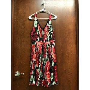 White House Black Market Black Red Dress 6 Floral